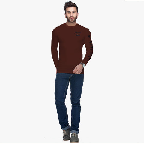 "B Quality  Men's ""Hollister"" Long Sleeves Fashion Crew Neck - Brown (BHS727)"