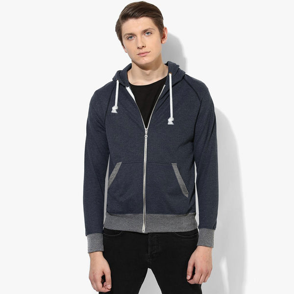 "Men's Cut Label ""Next"" Stylish Zipper Hoodie -Navy Melange-H04"