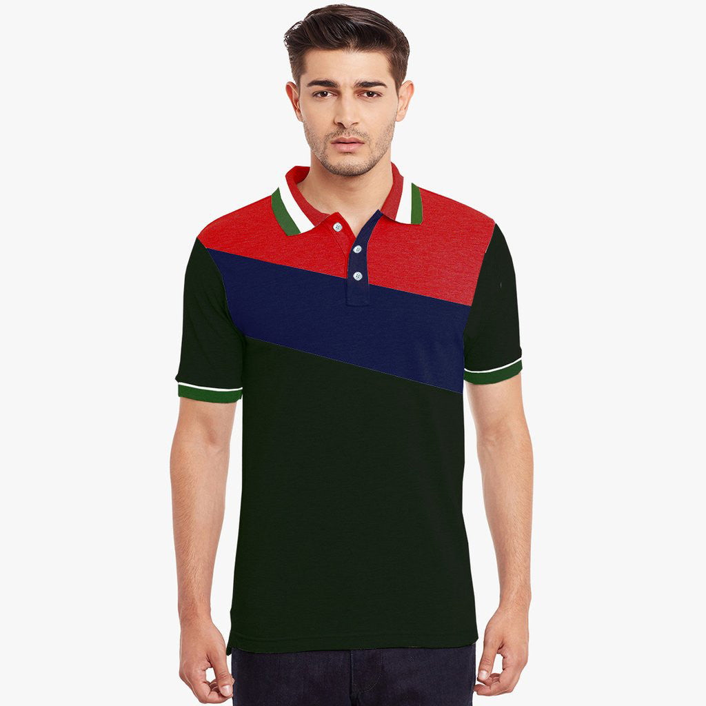 Mens Louis Vicaci Milano Muscel Fit Green- Blue &  Rred Rugby Polo Shirts -RP56