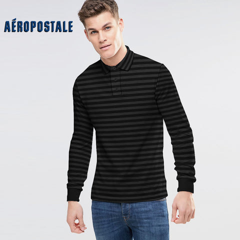 Aéropostale Exclusive Striper Long Sleeve Polo Shirt-Black & Light Black-NA11