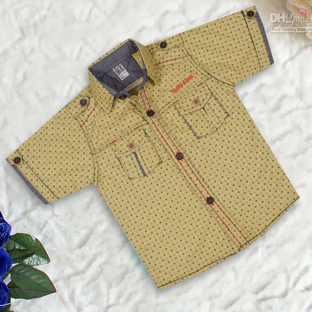 "Kid's ""TAO"" Short Sleeves All Over Print Stylish Casual Shirt- KC208"