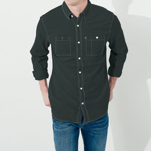 Payper Wear Button Down Casual Shirt For Men-Dark Cyan Green-NA1282