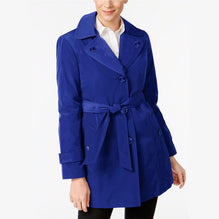 "Ladie's "" Like an Angel "" Stylish Long Trench Coat -Royal Blue-LC07"