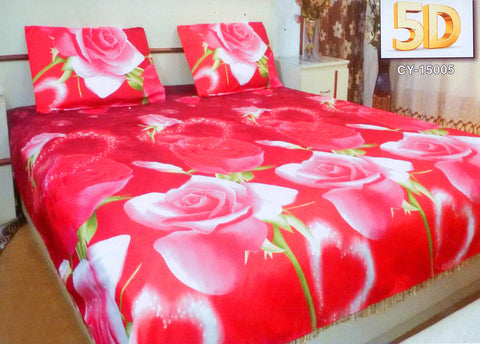 5D Oker's Island 100% Cotton Sutton Printed Double Bed Sheet & Pillow Set-(CY-15005)