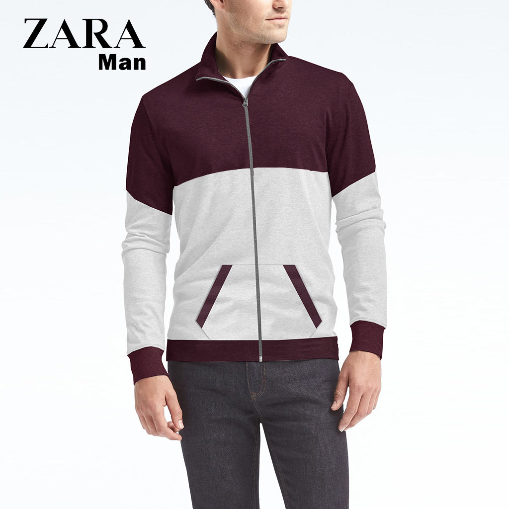 Zara Man Zipper Mock-neck Jacket For Man-Dark Burgundy & Gray-NA309