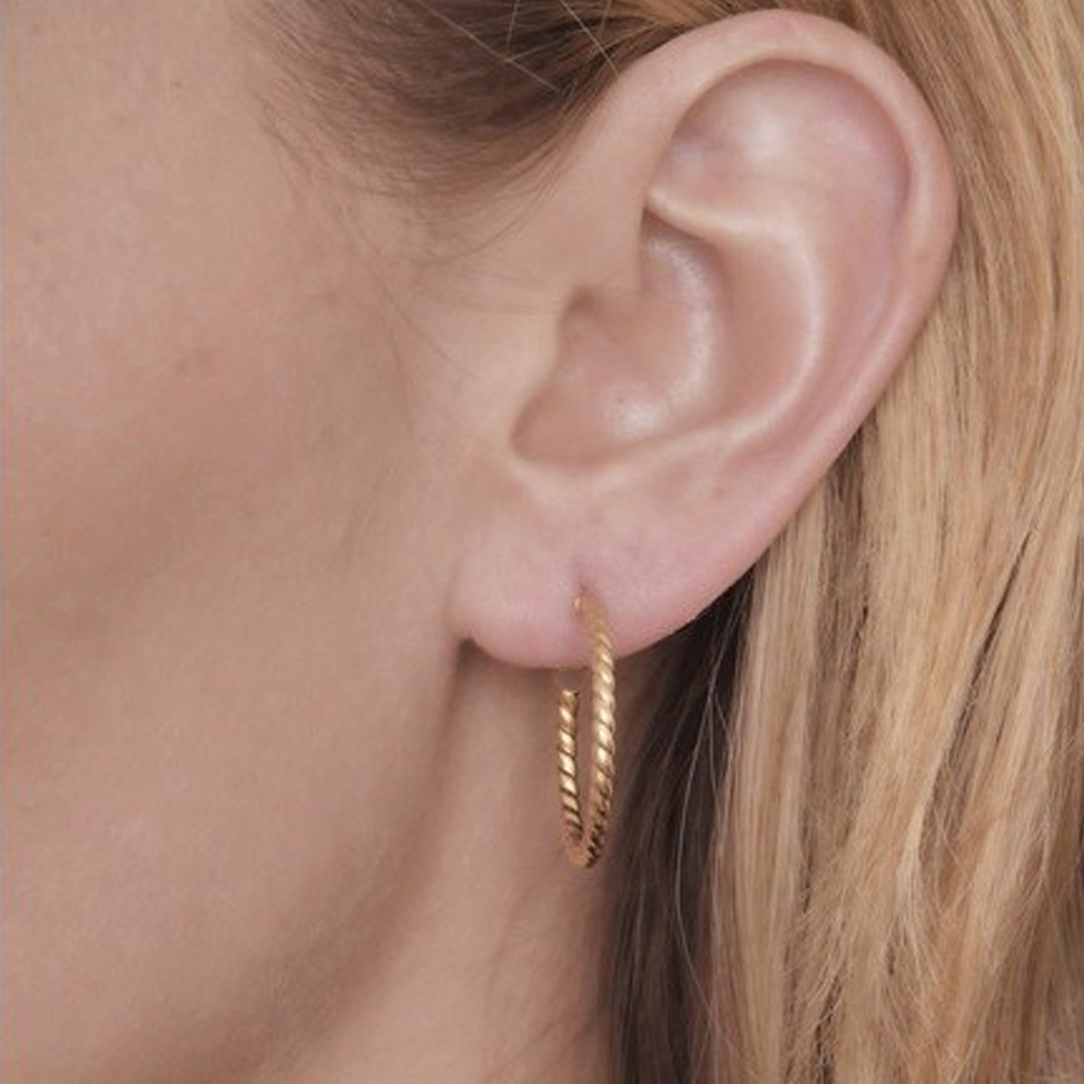 Yellow Gold Textured Twisted Open Hoop Earrings-JW039