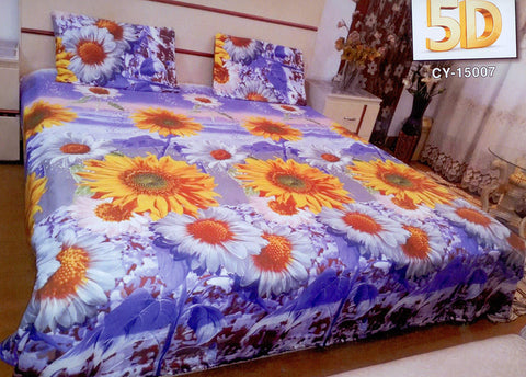 5D Oker's Island 100% Cotton Sutton Printed Double Bed Sheet & Pillow Set-(CY-15007)