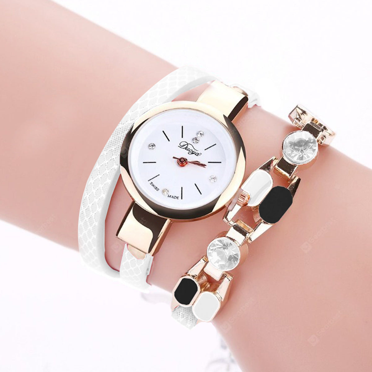 DUOYA Women Wrap Around Leather Wrist Watch For Women-JW036