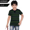 Kids Kroner Striped T Shirt-Dark Green-KKTS03