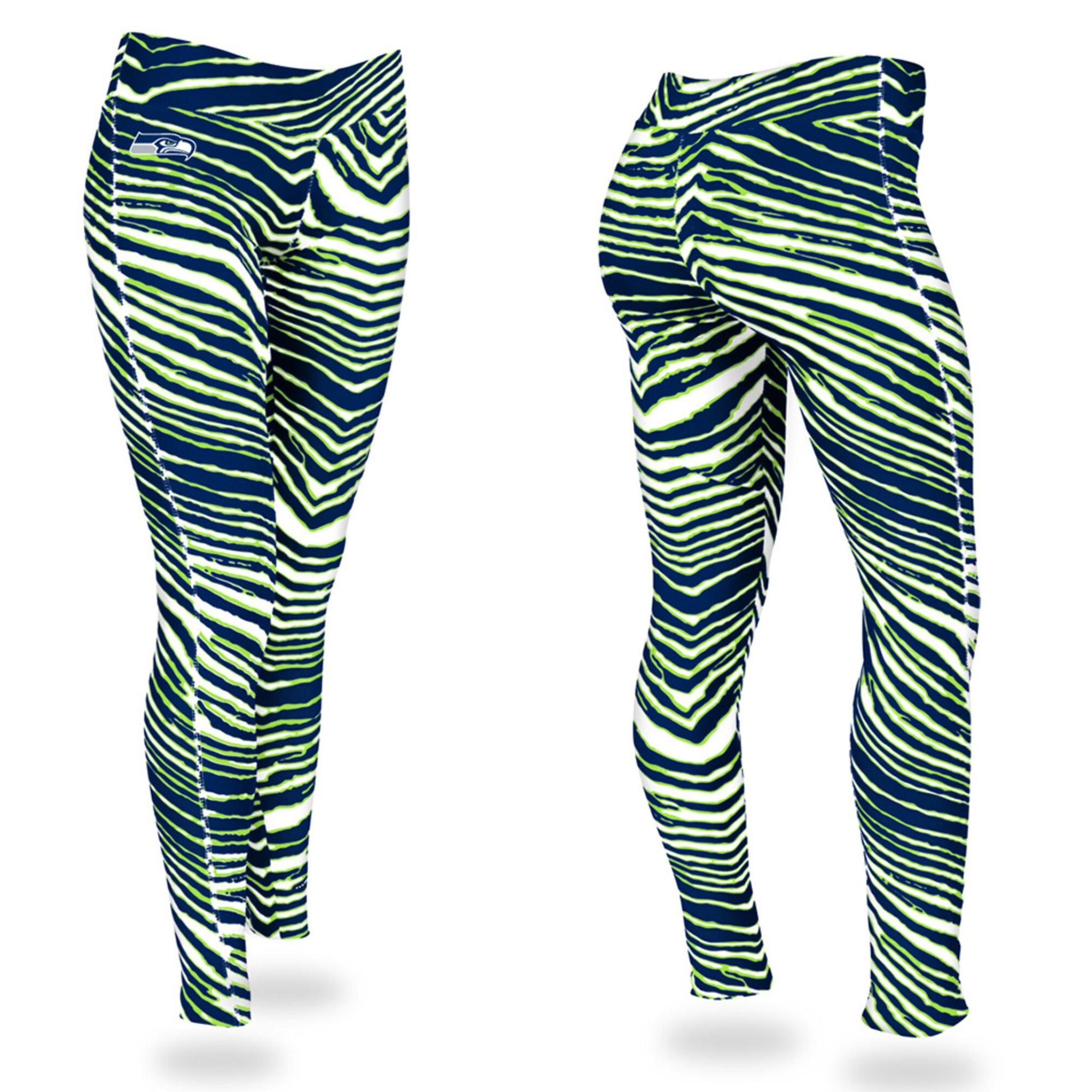 Zubaz Zebra Print Slim Fit Trousers For Ladies-Green/Dark Navy-NA9260