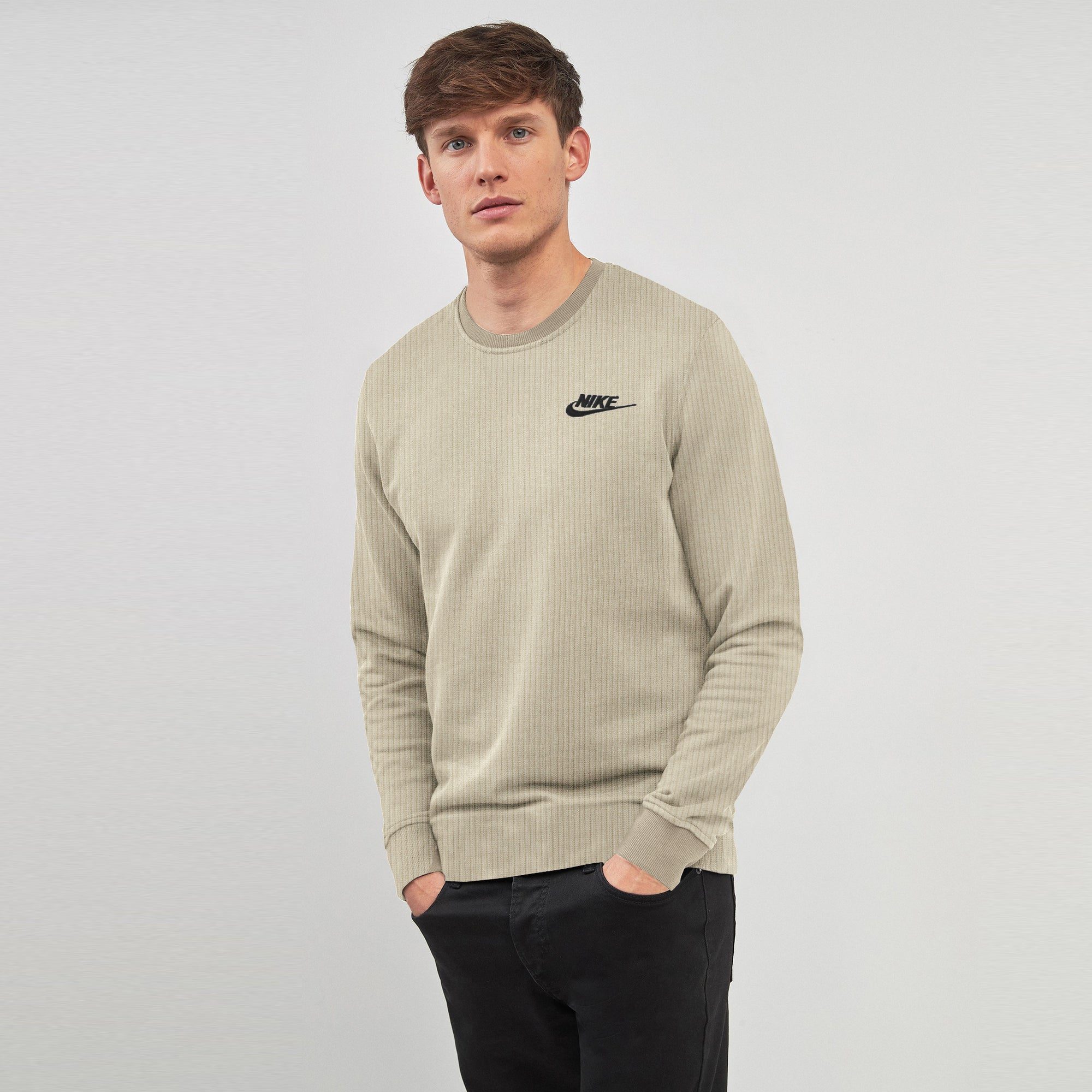 NK Crew Neck Thermal Sweatshirt For Men-Camel-SP1334