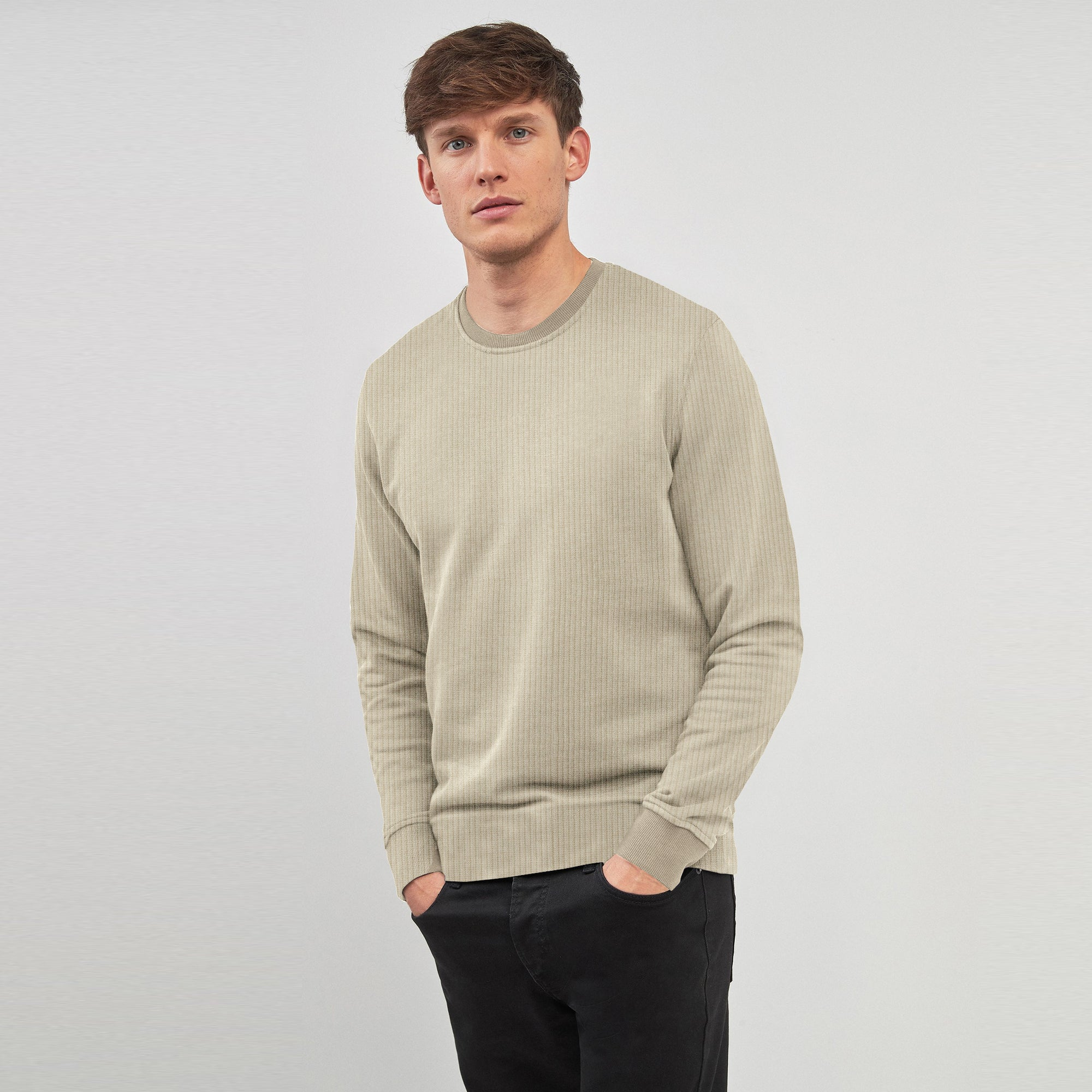 Nyc Polo Crew Neck Thermal Sweatshirt For Men-Camel-SP1336
