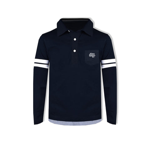 "Kid's Cut Label ""NEXT"" Stylish Rugby Polo shirt-Dark Navy-KSP01"