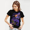 Halloween Single Jersey Crew Neck T Shirt For Women-Black-BE4647