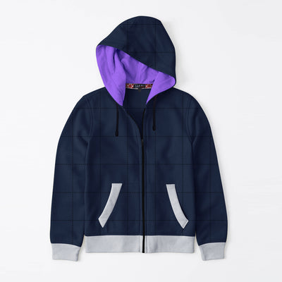 Tommy Hilfiger Quilted Zipper Hoodie For Kids-Dark Navy & Grey Melange-BE10607