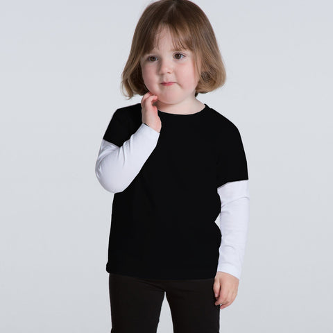 Next Cut Label Crew Neck Full Sleeve T Shirt For Kid-White & Black-BE2127