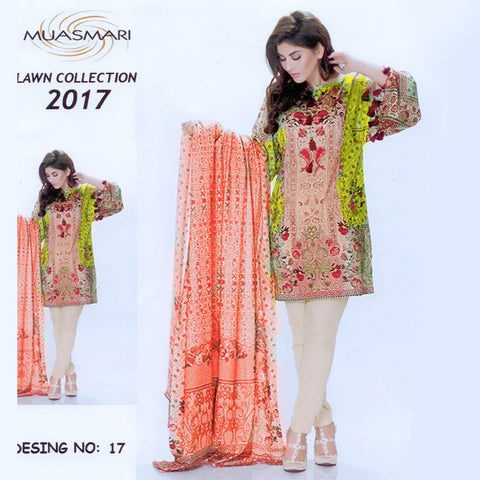 Muasmir Lawn Collection Unstitched 3 Piece Ladies Suit-ULS59