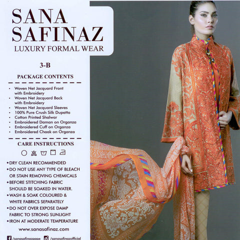 "Ladie's ""Sana Safinaz"" Unstitched 3 Piece Suite -(SS036)"
