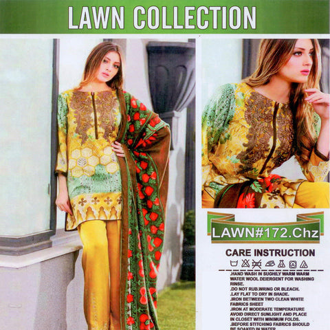 Lawn Collection Unstitched 3 Piece Suite For Ladies -NS38