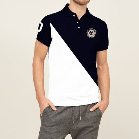 Mens Louis Vicaci Milano Muscel Fit Dark Navy-White Rugby Polo Shirts With Embroidry-RP17