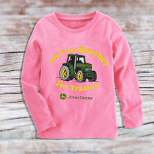 John Deere Full Sleeve T Shirt For Kid Cut Label-Pink-BE2454