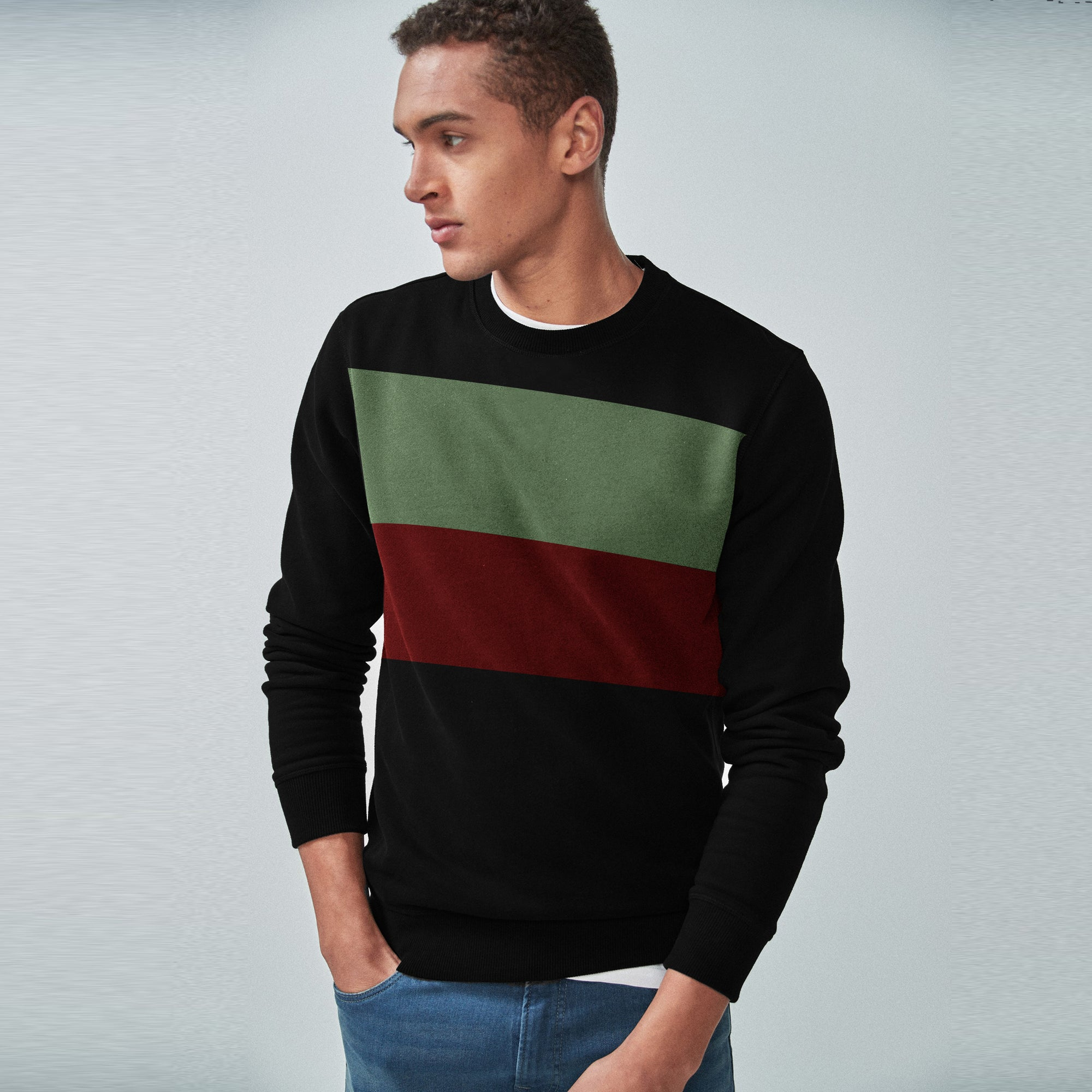 Next Terry Fleece Crew Neck Sweatshirt For Men-Black with Panels-SP1581
