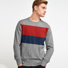 Next Fleece Crew Neck Sweatshirt For Men-Dark Grey Melange with Multi Panel-SP1054
