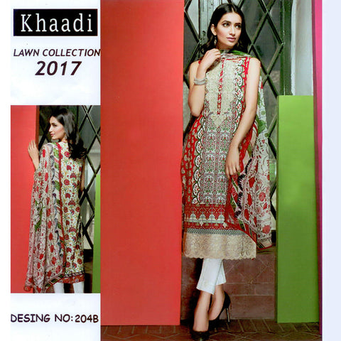 Khaadi Unstitched 3 Piece Ladies Suit-ULS60