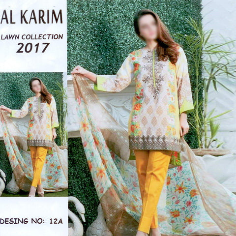 Al Karim Lawn Unstitched 3 Piece Suit For Ladies-NS40