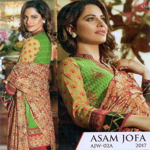 Asim Jofa Unstitched 3 Piece Suite For Ladies -NS40