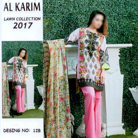 Alkarim Lawn Collection Unstitched 3 Piece Ladies Suit-ULS63