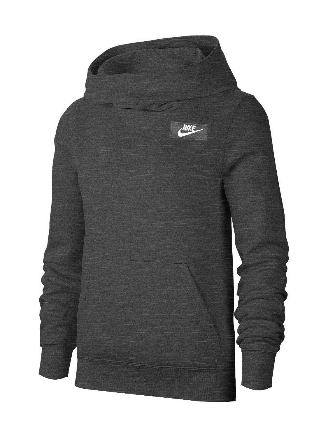 NK Fleece Pullover Hoodie For Men-Dark Grey Melange With White Embroidery-NA12660
