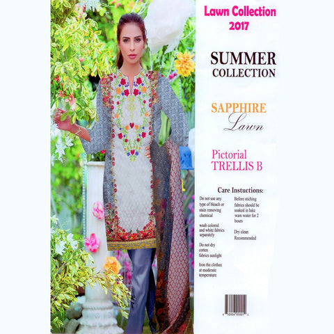 Sapphire Lawn Unstitched 3 Piece Ladies Suit-ULS65