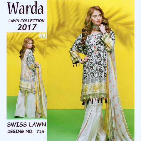Warda Lawn Unstitched 3 Piece Ladies Suit-ULS66