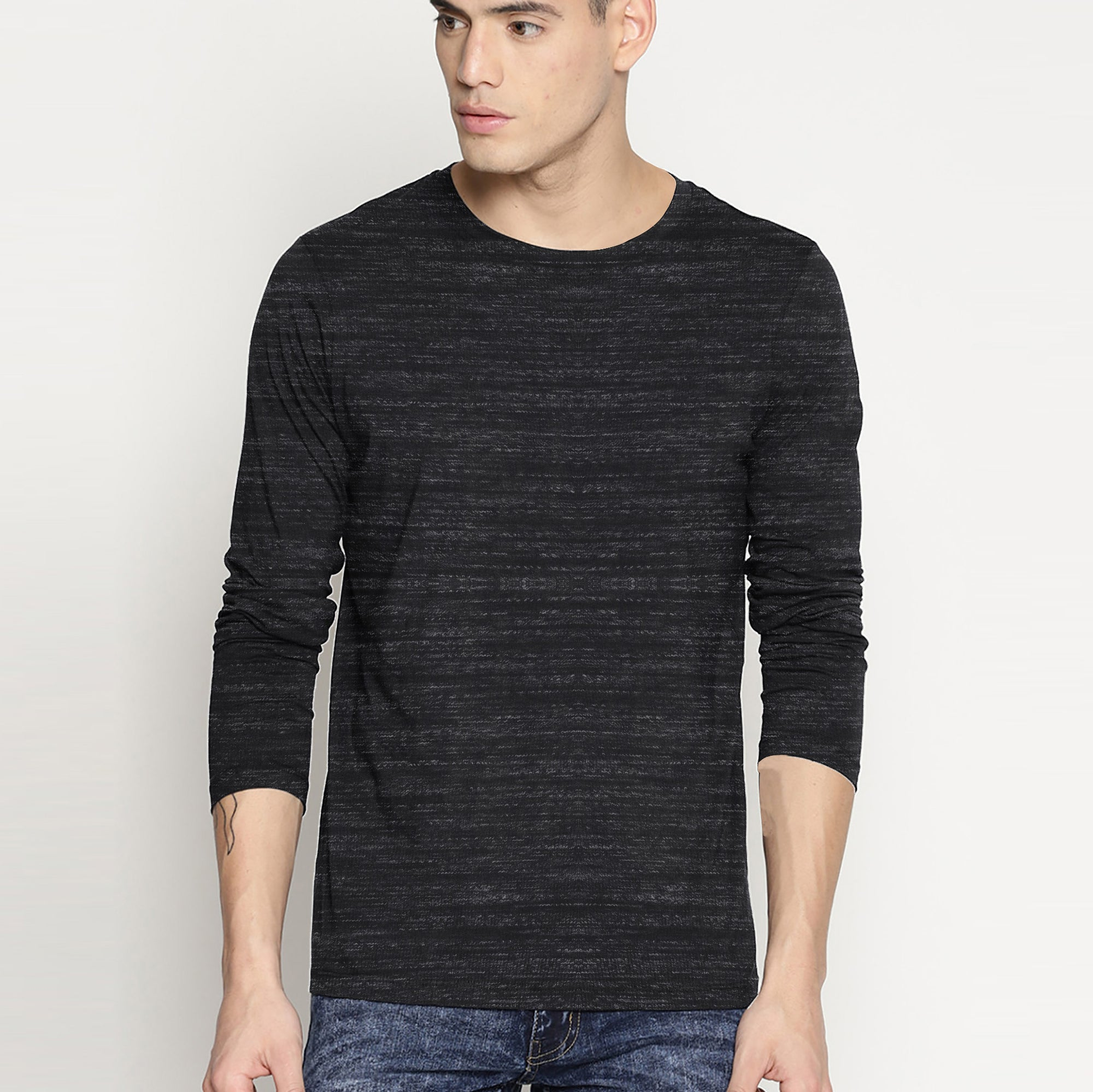 Beverly Hills Single Jersey Long Sleeve Tee Shirt For Men-Charcoal With Melange-SP404