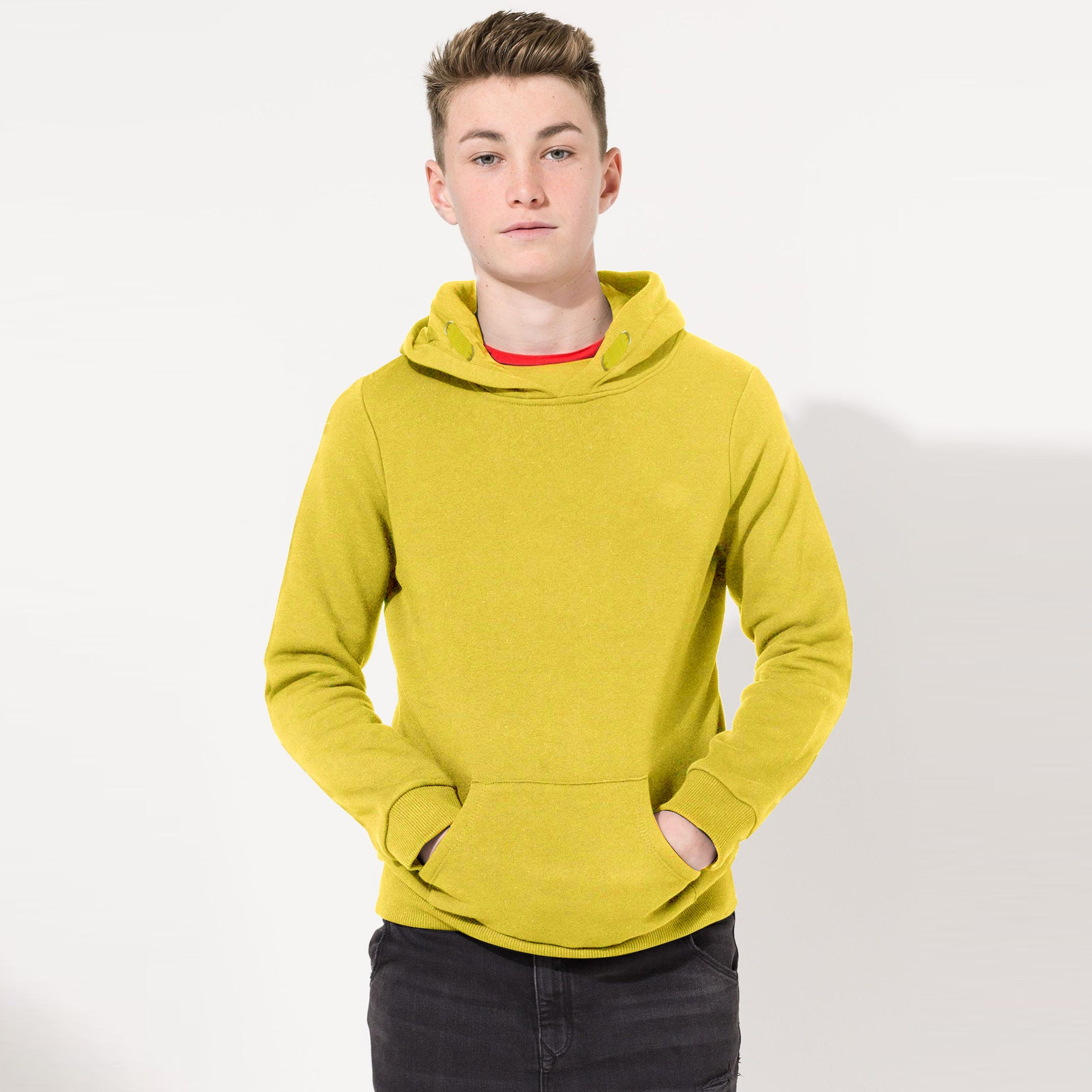 Next Terry Fleece Pullover Solid Hoodie For Kids-Light Lime Yellow-SP827