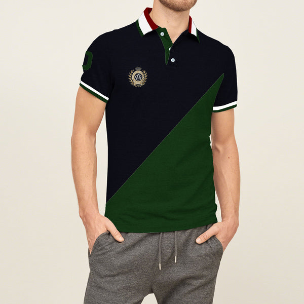 Mens Louis Vicaci Milano Muscel Fit Light Navy-Dark Green Rugby Polo Shirts With Embroidry-RP15