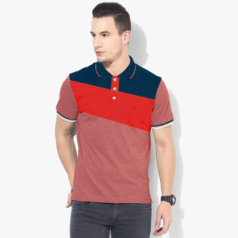 Mens Louis Vicaci Milano Muscel Fit Burgundi Melange-Red & Blue Rugby Polo Shirts -RP55
