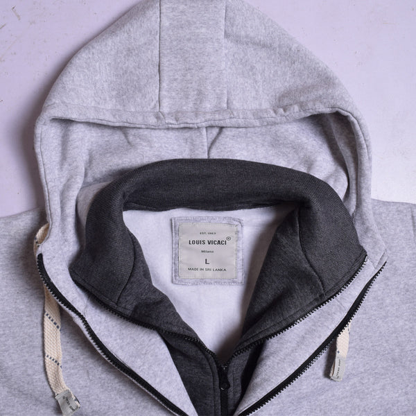 "Exclusive Men's ""LOUIS VICACI"" Double Zipper Jacket-Grey-LVG2"