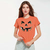 Halloween Single Jersey Crew Neck T Shirt For Women-Orange-BE4649