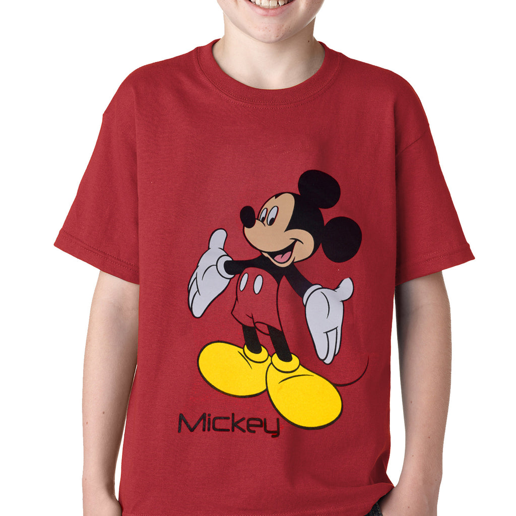 Kids Mickey Mouse Printed Tee Shirt-Red Melange-DK02