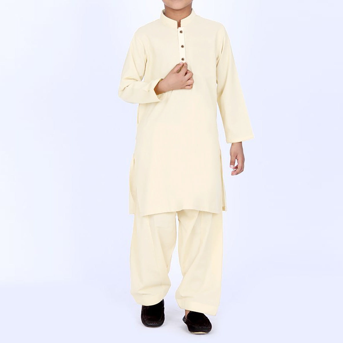S.A 100% Cotton Kurta Shalwar For Boys-Cream-BE4500