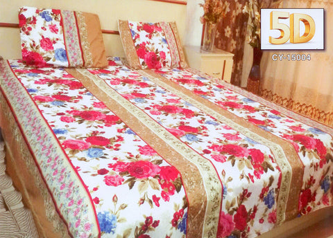 5D Oker's Island 100% Cotton Sutton Printed Double Bed Sheet & Pillow Set-(CY-15004)