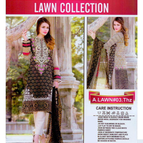 Lawn Collection Unstitched 3 Piece Ladies Suit-ULS09