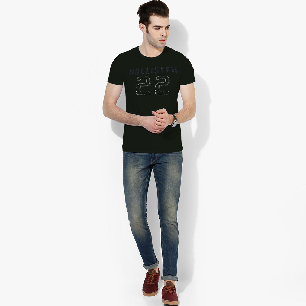 "Men's ""Hollister"" Short Sleeves Fashion Crew Neck With Aplic - Dark Green (HS730)"