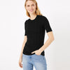 Next Crew Lace Neck Short Sleeve Tee Shirt For Ladies-Black-BE11729