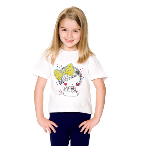Fassion Crew Neck T Shirt For Kids -White-BE819