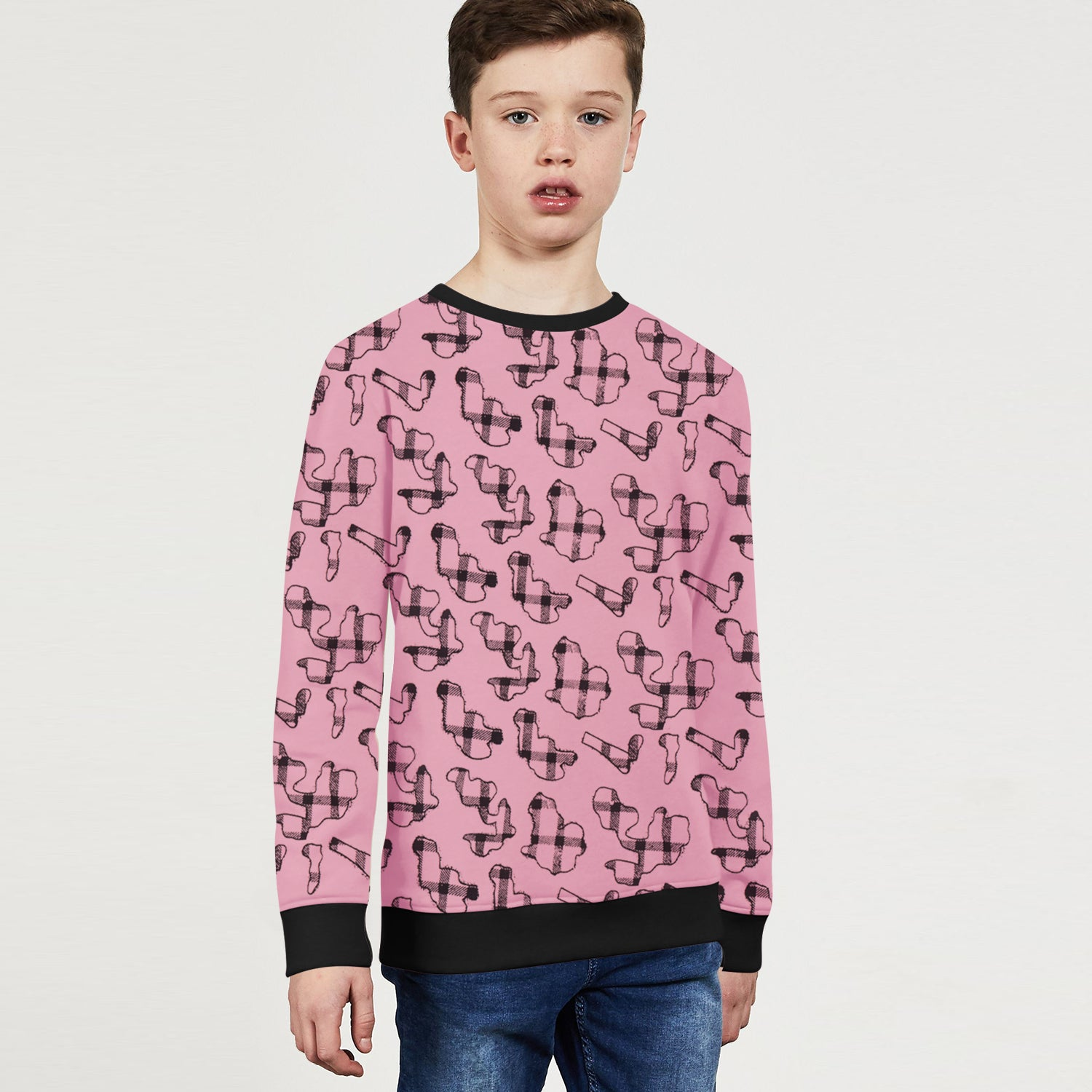 ZBaby Terry Fleece Sweatshirt For Kids-Pink with Allover Print-BE12833