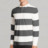 John Ashford Single Jersey Long  Sleeve Polo Shirt For Men-White & Dark Gray Stripe-SP281