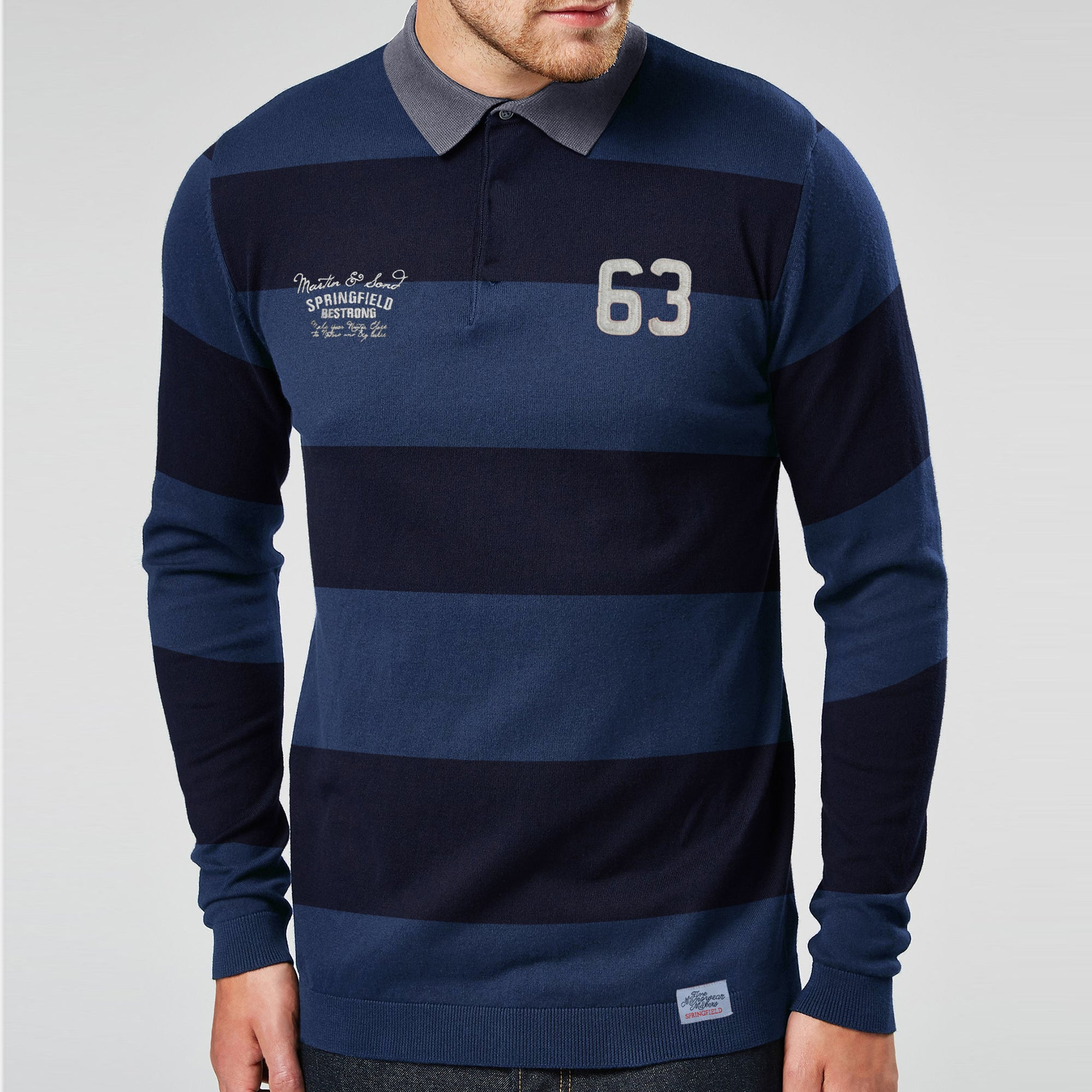 Springfield Long Sleeve Single Jersey Polo Shirt For Men-Dark Navy & Dark Blue Stripes-SP279